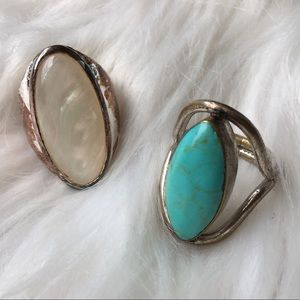 Vintage Boho Southwestern Silver Turquoise Rings 7